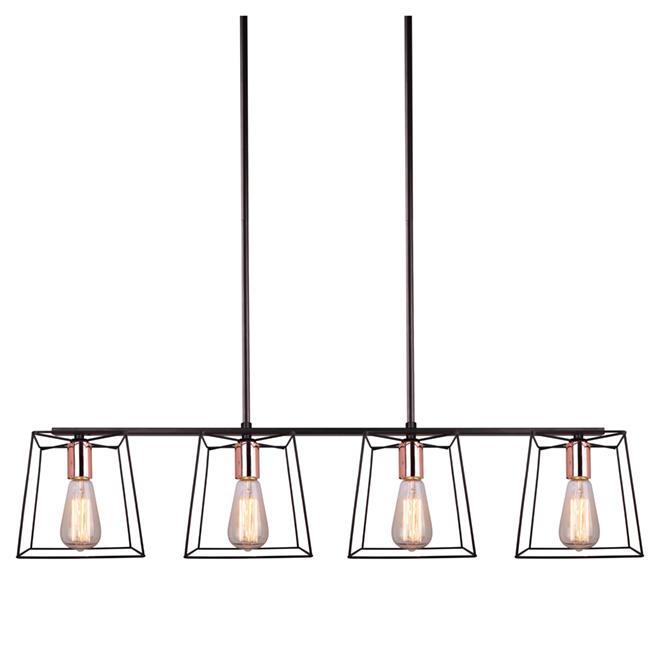 Suspension ajustable à 4 lumières « Coppertech », 38 po
