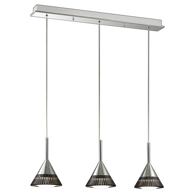 Suspension à 3 lumières, Oxydell, DEL 7,2 W, chrome/café