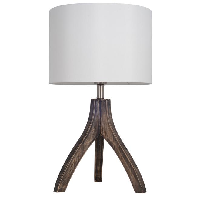 Lampe de table Tripoli, abat-jour en lin blanc, bois foncé