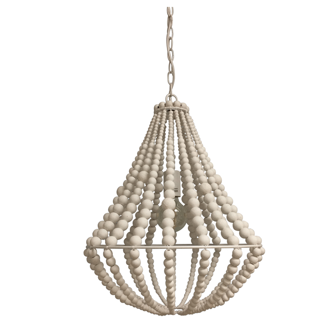 Perlina 1-Light Pendant - Wooden Beads - White Finish