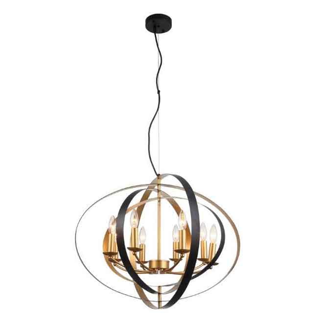 Luminaire suspendu ajustable, 8 lumières, fini or et noir