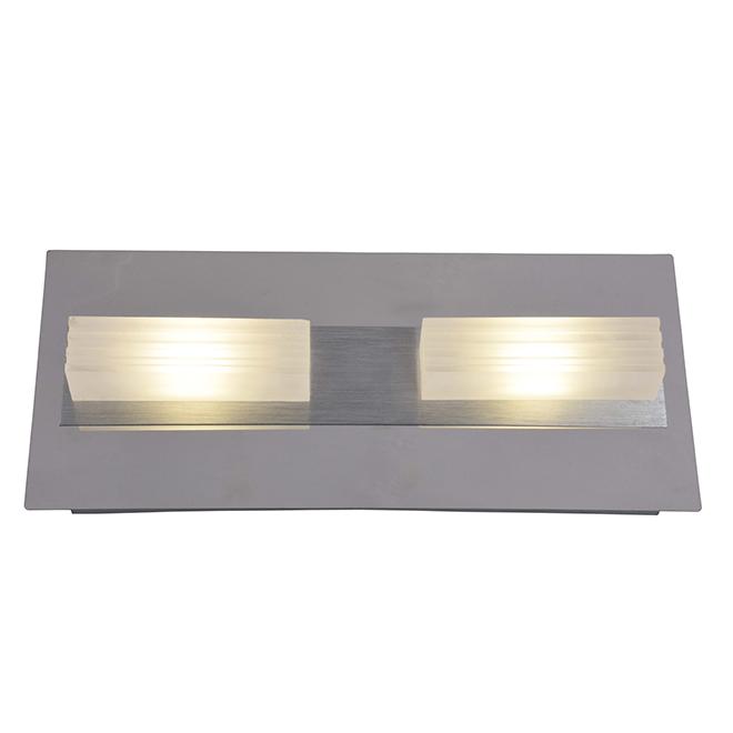 Lumirama Ledgo Vanity Wall Bar for Bathrooms - 2 Integrated 5-Watt LED Bulbs - Hardwired - Frosted Acrylic Shades