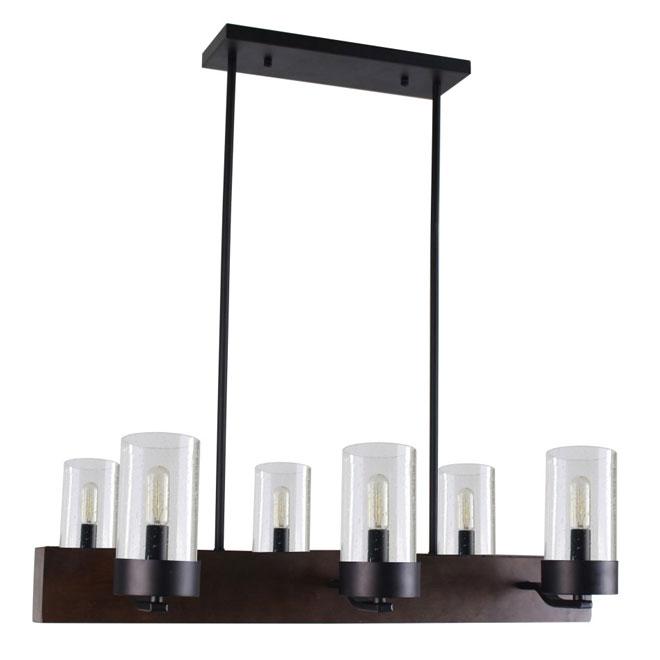 Lumirama - Pendant - 6 Lights - Glass Shades - Dark Wood