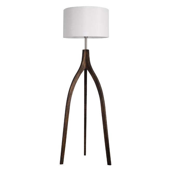 Tripoli Floor Lamp - White Fabric Shade - Dark Wood