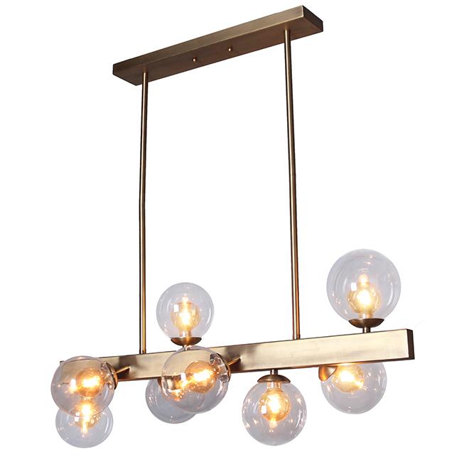 Luminaire suspendu à 8 lumières Brossa Nova, or brossé