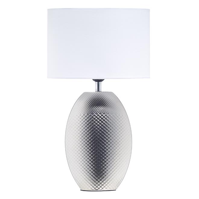 Ceramic Table Lamp - CFL or LED Bulbs - 60 W - Flat Silver