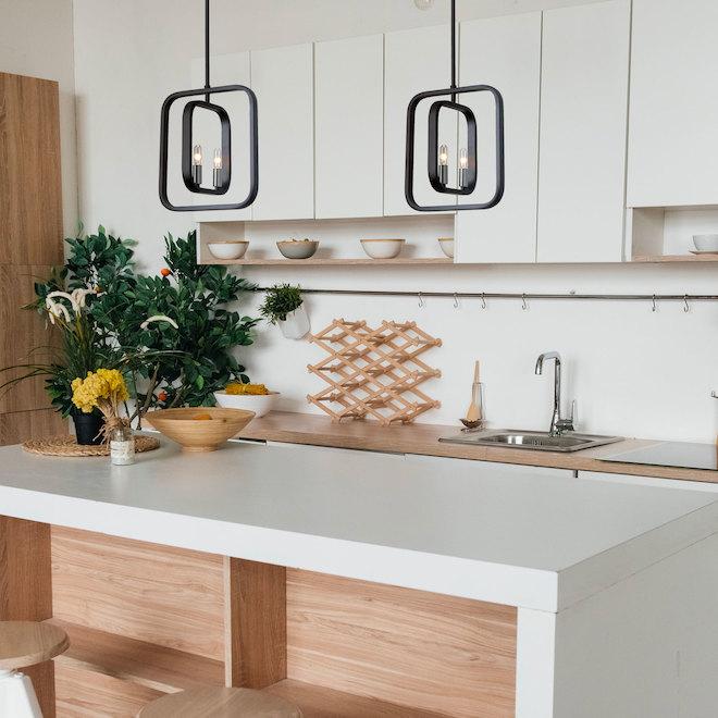 Luminaire suspendu «Ivanna» à 2 lumières, 60 W, nickel satiné