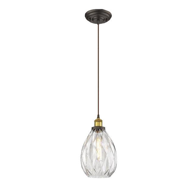Luminaire suspendu à 1 lumière «Verrono», 60 W, noir mat
