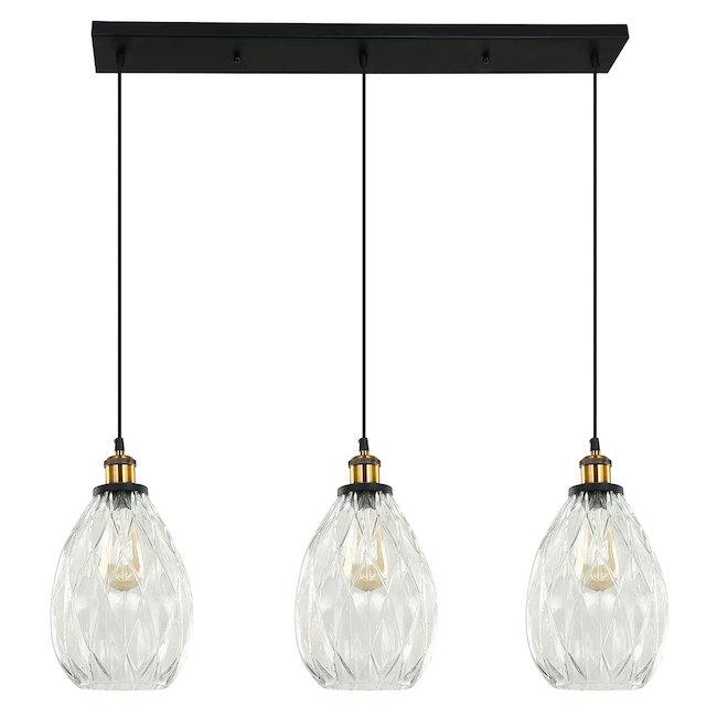 Luminaire suspendu à 3 lumières «Verrono», 60 W, noir mat