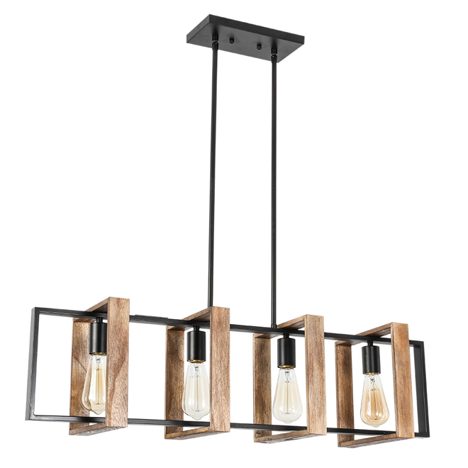 """Weston"" 4-Light Pendant Light - 60 W - Wood"
