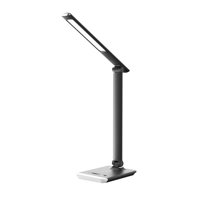 Lampe de table DEL «Delpho», chargeur sans fil, noir