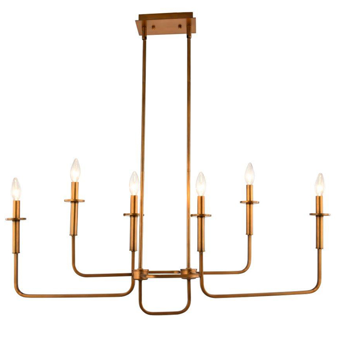 Plafonnier, 6 lumières, 39'' x 79'' bronze huilé