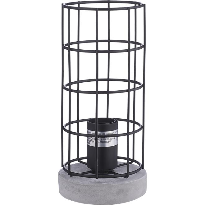 Lampe de table, métal et ciment, noir mat