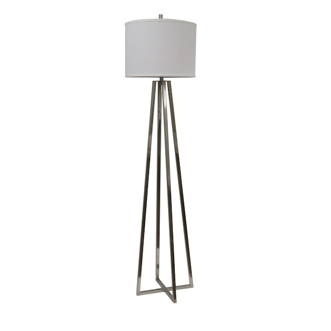 allen + roth Floor Lamp - Metal and Fabric - Brushed Nickel and White