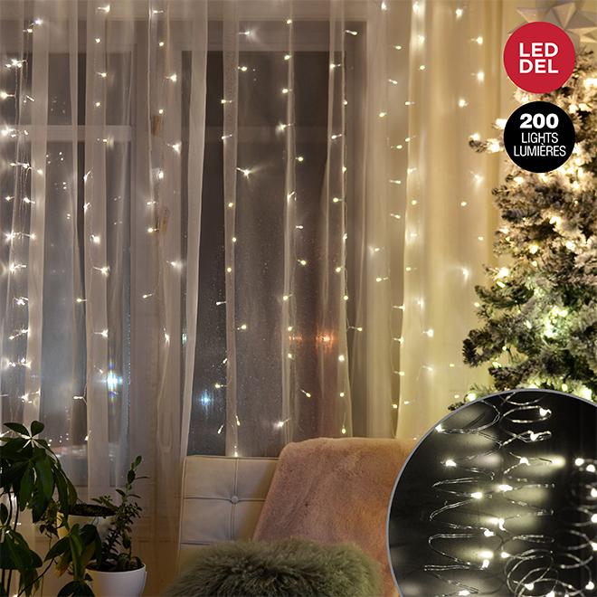 Lumières en cascade Danson, 200 lumières, blanc chaud