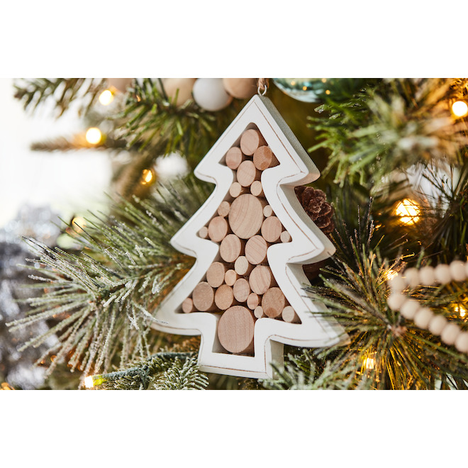 Holiday Living Wood Tree Christmas Ornament - 5.5-in - 4 PK