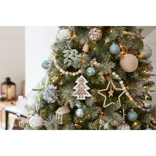 Holiday Living Wood Tree Christmas Ornament - 4-in - 4 PK