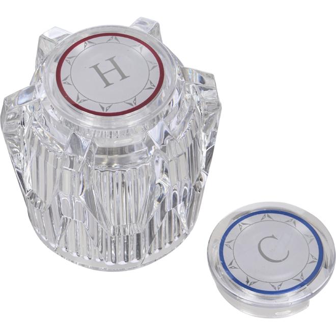 Poignée de robinet, chaud/froid, plastique