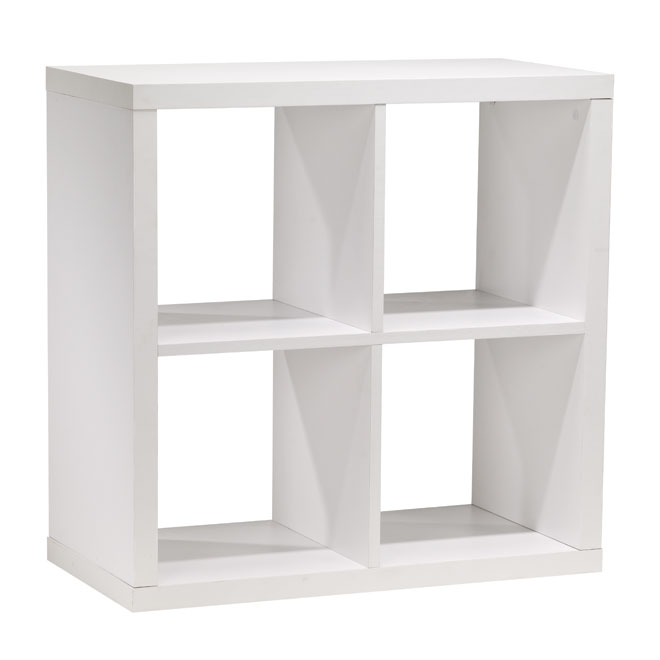 biblioth que 4 cases en mdf blanc rona. Black Bedroom Furniture Sets. Home Design Ideas
