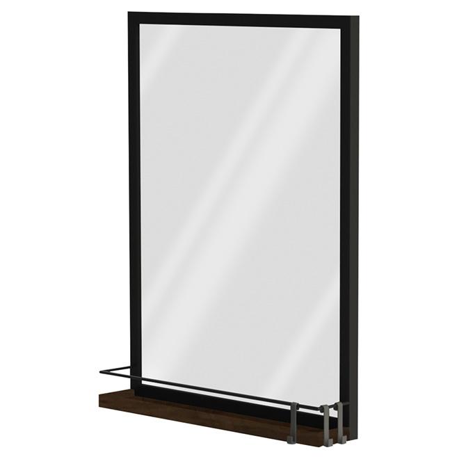 Miroir avec tablette, noir brillant