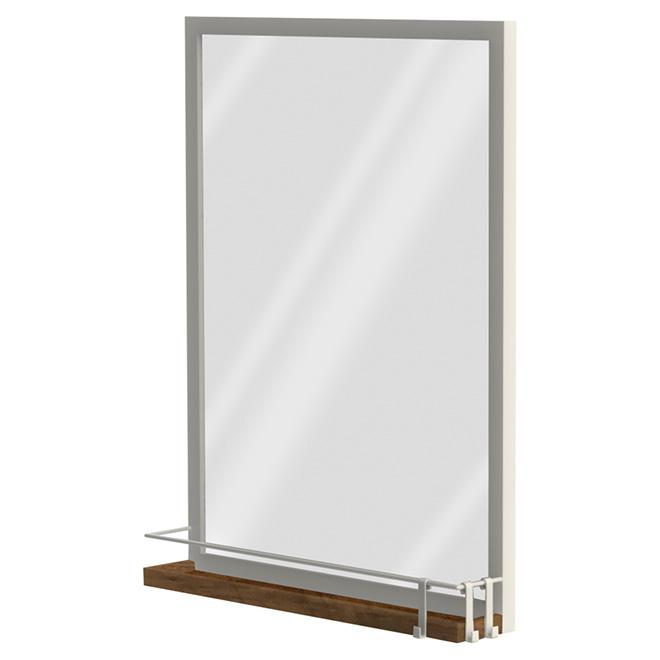 Miroir avec tablette, blanc brillant