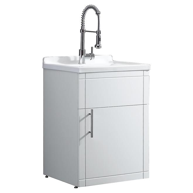 Ove Decors Utility Sink With Vanity 1 Door Pvc Acrylic 24 White