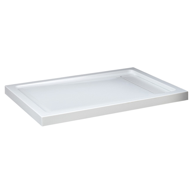 """Base de douche en acrylique, drain caché, 48"""" x 36"""", blanc"""