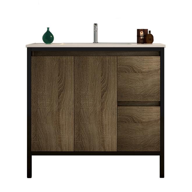 Meuble-lavabo Adele de Ove Decors, fini bois taupe, lavabo en céramique avec 2 tiroirs, 36 po