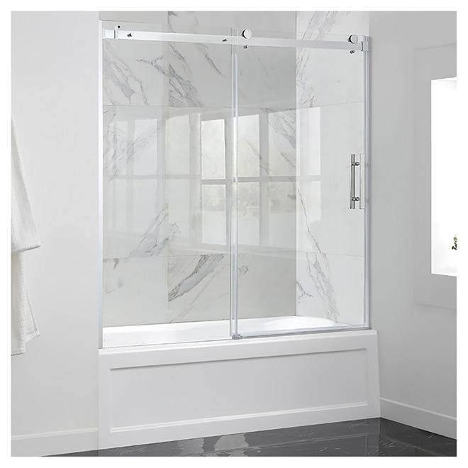 "ove sliding clear glass tub door - 60"" - chrome tdch-waygal | rona"