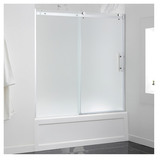 Sliding Frosted Glass Tub Door 60 Chrome Rona