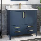 Meuble-lavabo Lorenzo Ove Decors MDF 36 po bleu minuit