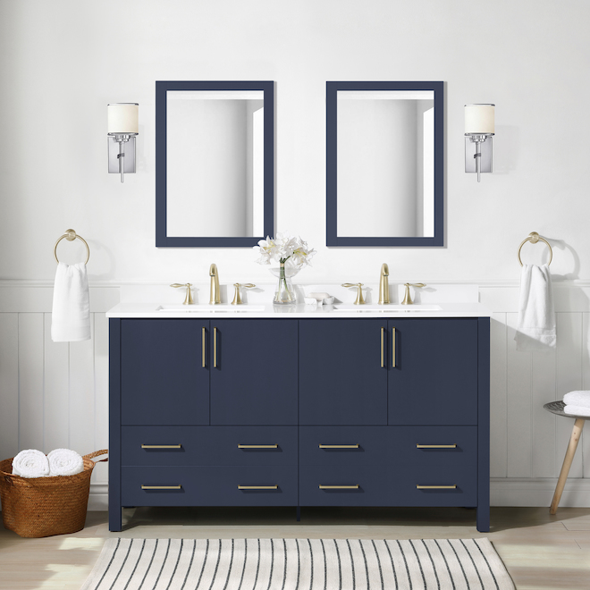Ove Decors Lorenzo Vanity with Double Sink MDF 60-in Midnight Blue