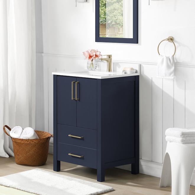Meuble-lavabo Lorenzo de Ove Decors MDF 24 po bleu minuit