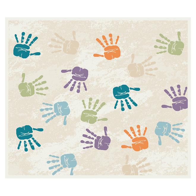 """Tapis « Empreintes de mains », multicolore, 3'3"""" x 3'9"""""""