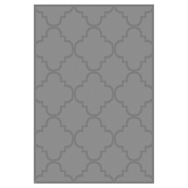 """Tapis décoratif en nylon, 5'3"""" x 7'5"""", gris"""