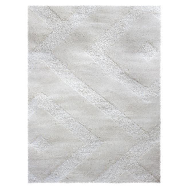 "Tapis shag « Romeo », 7' 11"" x 10' 4"", blanc"