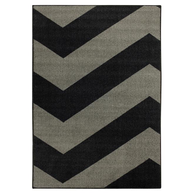 Tapis décoratif Tendance en nylon, 4' x 6', gris/noir