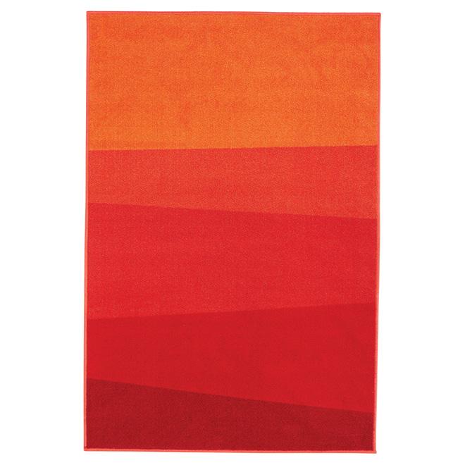 Tapis décoratif Tendance en nylon, 4' x 6', rouge/orange