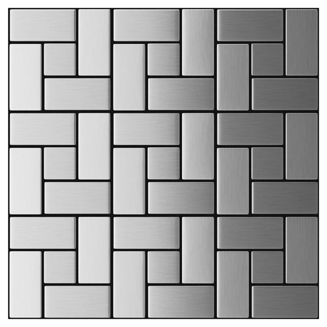 Carreaux muraux California d'Inoxia, mosaïque, autoadhésifs, argent, 11 7/32 po l. x 11 7/32 po L.