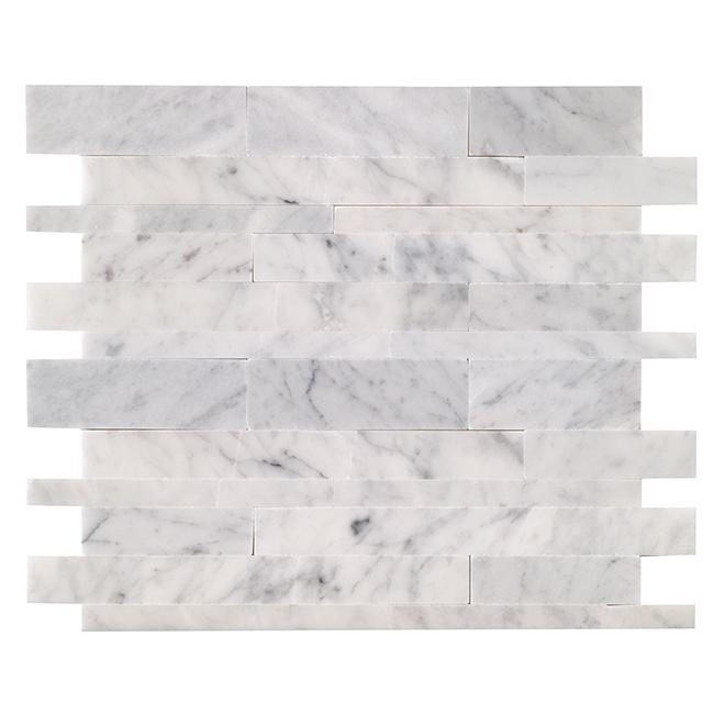 Tuiles en marbre autocollantes Siberia, 12/boîte, blanc/gris