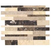 Tuiles en marbre autocollantes Tawny, 12/boîte, brun