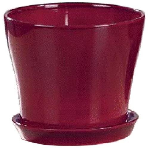 Pot à fleurs en céramique avec soucoupe 7,5 po, rouge