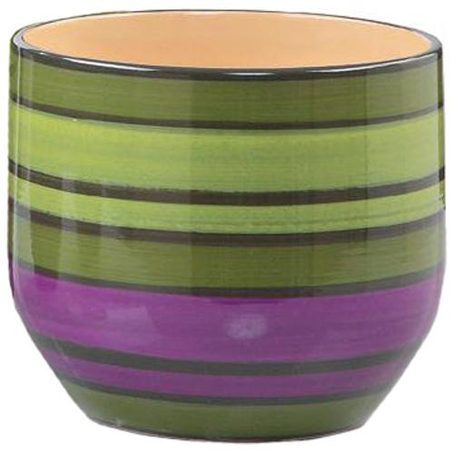Cache-pot en céramique «Pure Line» 13cm - Vert et violet