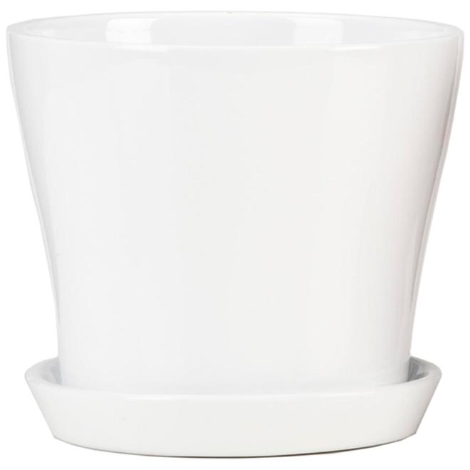 Jardinière en céramique avec soucoupe, 6 po, blanc