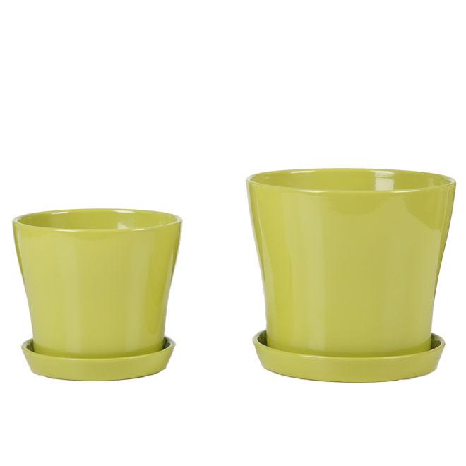 Pot à fleurs en céramique avec soucoupe 6 po, vert lime