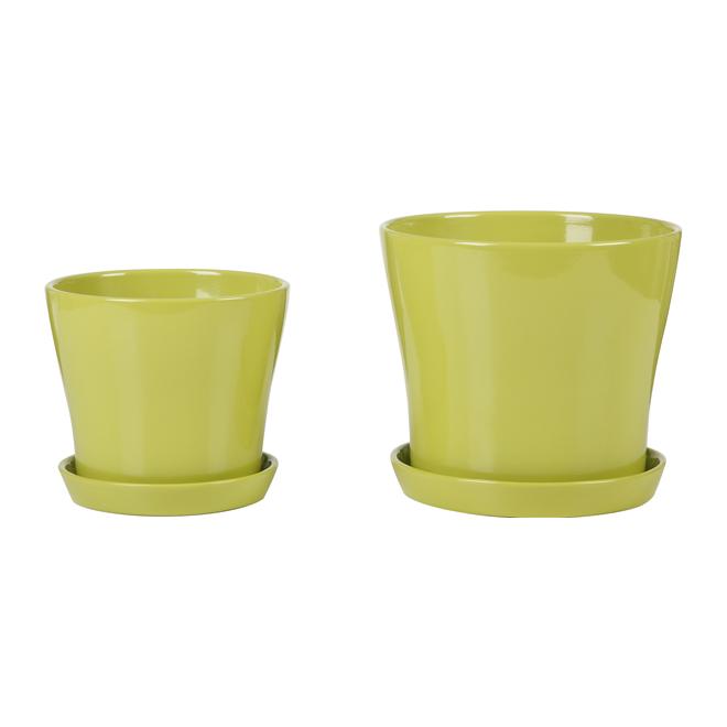 Pot à fleurs en céramique avec soucoupe 7,5 po, vert lime
