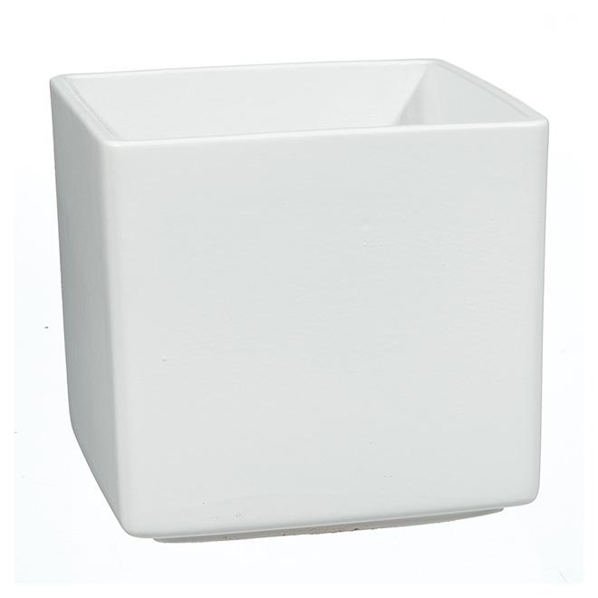 Cache-pot carré « Panna » en céramique 5 po, blanc