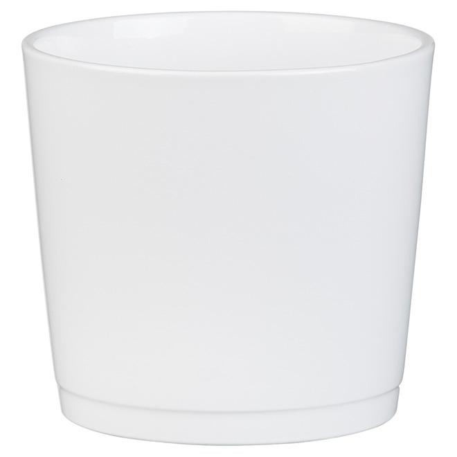 "Ceramic Cover Pot - 883 - 5"" - White"