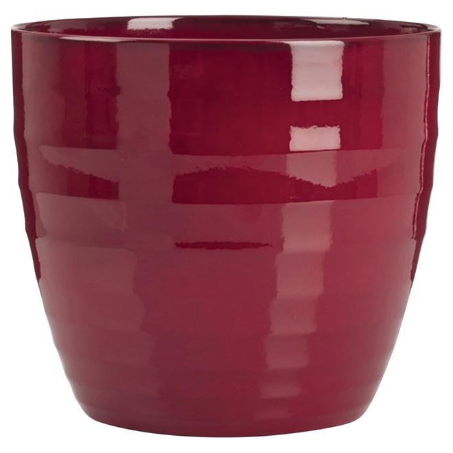 Jardinière en céramique, 11 po, rouge