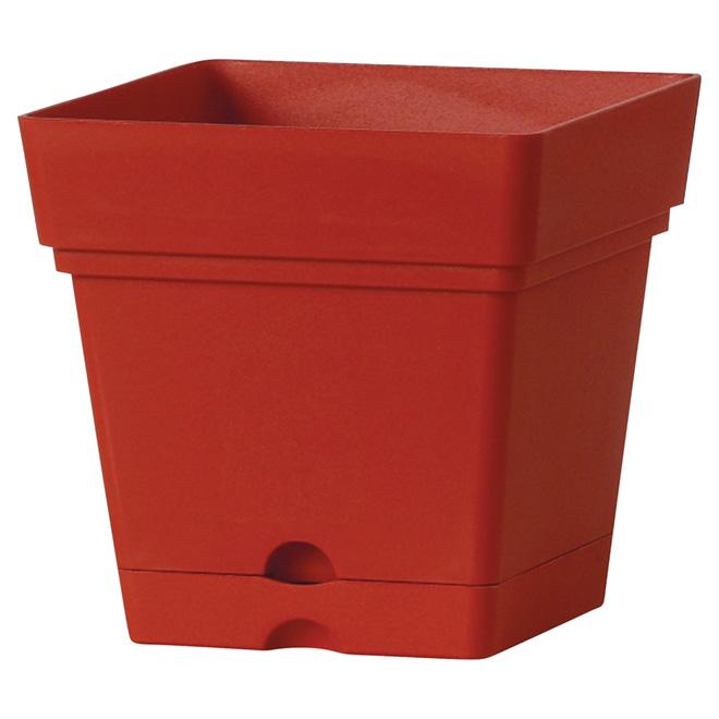 Jardinière carrée avec soucoupe, 7 po, rouge